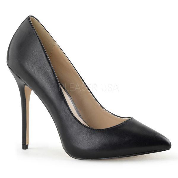 Klassische schwarze High Heel Pumps in Lederoptik AMUSE-20